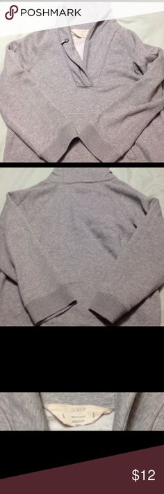 J Crew 3/4 sleeve cowl neck shirt! Grey, thick, 3/4 sleeve top. Very comfortable. Size medium but runs more small size. Does not include button on lapel. J. Crew Tops Sweatshirts & Hoodies