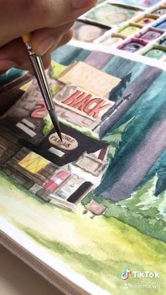 Watercolor Trees, Watercolour, Watercolor Paintings, Canvas Painting Tutorials, Diy Canvas Art, Watercolor Art Lessons, Art Drawings Sketches Simple, Marker Art, Character Drawing