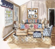 Fun Nautical Living Room Rendering by: Cindy LeBlanc Design & rendering by: Cindy LeBlanc Interior Design Renderings, Interior Design Courses, Drawing Interior, Interior Rendering, Interior Sketch, Best Interior, Interior Paint, Architecture Design, Plan 2d