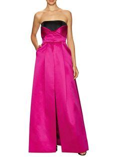 Bust Fold Front Split Gown