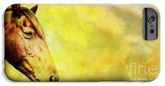 Horse head grunge background iPhone 6 Case. Horse head grunge background.  Portrait of a brown horse with a grungy background. The grunge is painted in red, green, yellow and blue with cloud formed brushes.  Image by Jan Brons.