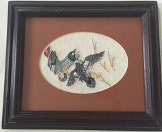 Flying Eagles Framed Matted Cross Stitch Completed Vintage Art Birds Wood Frame | eBay