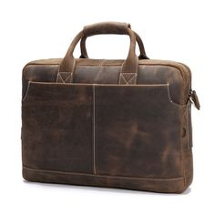 "Vintage Leather Mens Briefcase/ 16"" Laptop Bag/ Messenger Bag"
