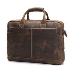"""Vintage Leather Mens Briefcase/ 16"""" Laptop Bag/ Messenger Bag"""