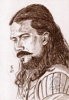 "Inktober - Day 5 - ""Long"" Freehand sketch of Luke Arnold as Long John Silver in 'Black Sails' using black ballpoint pen."