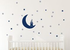 Little owl on moon star decal owl decor owl wall decal by Jesabi