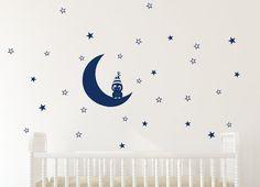 Little owl on moon star decal owl decor owl wall decal by Jesabi