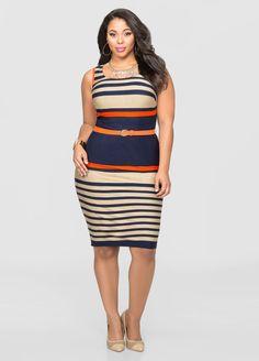ashley stewart- Belted Variegate Stripe Leather Trim Dress Belted Variegate Stripe Leather Trim Dress