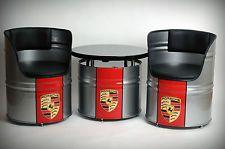 Porsche,Gulf,Harley.. Design Ölfass Möbelset (1 Tisch, 2 Stühle)