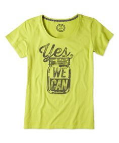 Love this Chartreuse Green 'Yes We Can' Creamy Scoop Neck Tee by Life is good® on #zulily! #zulilyfinds