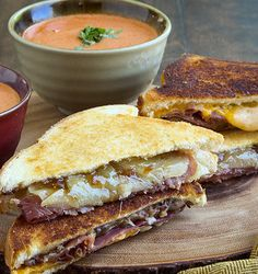 Grilled Cheese Duo with Proscuitto, White Cheddar, Swiss, Fig Jam, and Grilled Shallots. Oh, and Tomato Soup. http://www.chefd.com/collections/all/products/the-grilled-cheese-duo