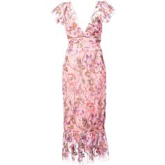 Marchesa Notte floral fitted dress (€640) ❤ liked on Polyvore featuring dresses, floral print dress, tight floral dress, floral dresses, fitted dress and pink floral dress