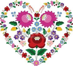 Heart made with traditional Hungarian embroidery pattern from Kalocsa region.