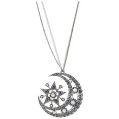 """Betsey Johnson Celestial Moon Satr 31"""" Long Necklace ($65) ❤ liked on Polyvore"""