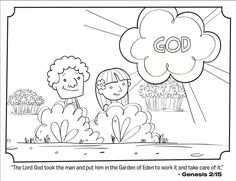 kids coloring page from whats in the bible featuring adam and eve in the garden of eden from genesis volume in the beginning - Garden Of Eden Coloring Pages