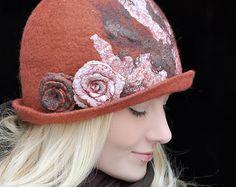OOAK Handmade Felted Hat Wave Cloche Felt Hat Handmade Felted Hat Cap Merino Wool Red Ginger Rufous Carroty Foxy Modern Fashion