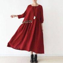 2017 spring sweet red linen dresses bells and flowers waist Asymmetrical design