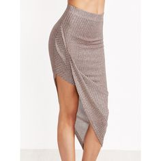 SheIn(sheinside) Marled Ribbed Knit Asymmetric Draped Skirt (€7,66) ❤ liked on Polyvore featuring skirts, coffee, rib knit skirt, asymmetrical maxi skirt, stretch maxi skirt, sexy skirt and ribbed knit skirt