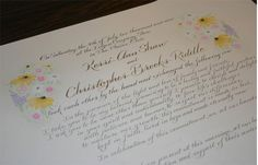 Marriage certificate with wild flowers