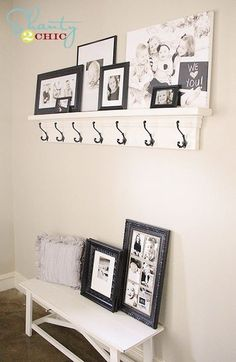 Maybe this to line the mudroom... or in the bathroom! DIY Shelf with Hooks! So cheap and easy!!