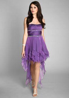 Lila Vokuhila Kleid im umwerfenden Lagenlook - günstig bestellen bei VIP Dress