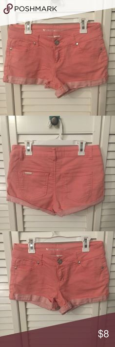 Juniors coral shorts. Short coral jean shorts. Cute cuffed bottoms. Excellent condition. Juniors size 3. No rips or stains Shorts