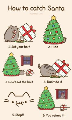 Pusheen the Cat: Merry Christmas cat setting Christmas Santa trap! Pusheen Christmas, Christmas Comics, Christmas Humor, Christmas Time, Santa Christmas, Winter Christmas, Christmas Pranks, Merry Christmas Funny, Christmas Stuff