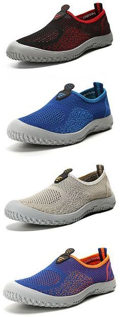 Men Mesh Color Match Breathable Soft Casual Sport Slip On Flat Shoes