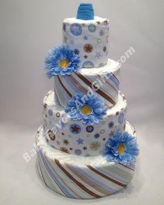 Blue for boy diaper cake - baby shower gift from http://babyfavorsandgifts.com/blue-stars-and-stripes-diaper-cake-p-60.html
