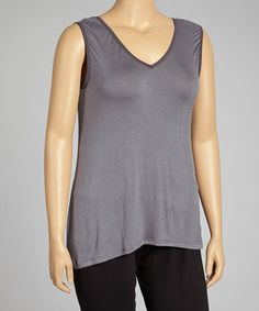 Take a look at this Charcoal V-Neck Sleeveless Top - Plus by 24/7 on #zulily today!