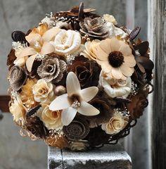 Brown Burlap Ivory Bouquet Made of Wood, Burlap and Corn Husk Flowers   AccentsandPetals - Wedding on ArtFire