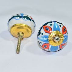 Set of 2 Multi Floral Hand Painted Ceramic Door Dresser Pulls Knobs on RoyalFurnish.com, $3.98