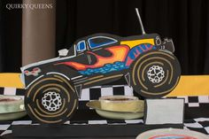 Centerpiece at a monster truck party birthday party! See more party ideas at CatchMyParty.com!