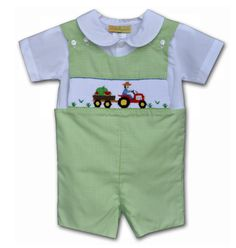 Hand Smocked Tractor with Watermelon Boy's Shortall