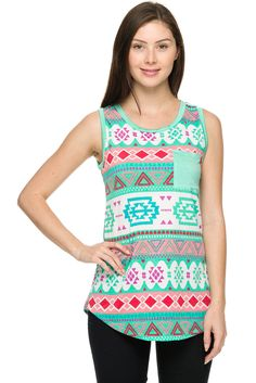 Tribal print round hem sleeveless top.
