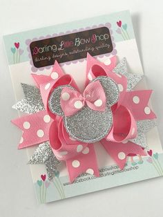 Miss Mouse Bow Pink and Silver Miss Mouse Bow Darling Bow Shop, Boutique Hair Bows, Diy Hair Bows, Ideas Para Fiestas, 1st Birthdays, Diy Hairstyles, Headbands, Baby Shower, Baby Set