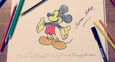 Step By Step Mickey Mouse Drawing Full Body Easy Drawings, Pencil Drawings, Mickey Mouse Drawings, Step By Step Drawing, Drawing Techniques, Full Body, Projects To Try, Sketches, Children