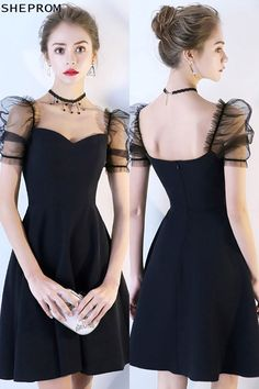 Black Bubble Sleeve Short Homecoming Dress with Sleeves at Sh. - - Black Bubble Sleeve Short Homecoming Dress with Sleeves at Shop thousands of dresses range from Homecoming,Party,Black,Little Black. Trendy Dresses, Cute Dresses, Casual Dresses, Short Dresses, Fashion Dresses, Dresses With Sleeves, Formal Dresses, Mini Dresses, Dresses Dresses