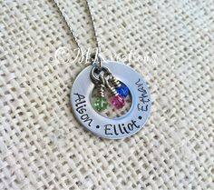 Mothers Day necklace- Stainless steel custom name necklace hand stamped washer. $22.00, via Etsy.
