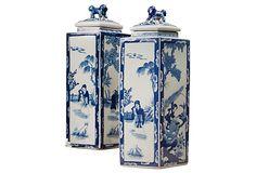 Dessau Home Porcelain Blue & White Diamond Jar Chinoiserie, Blue And White China, Blue China, Delft, Art Chinois, Deco Nature, Blue Plates, Shades Of White, Ginger Jars
