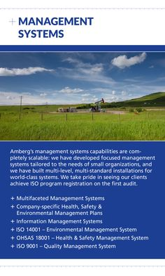 Contact Amberg for Management Systems at (403) 247-3088 or visit us online at www.amberg.ca