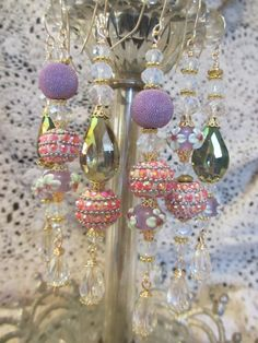 Pink Lavender Kashmiri Bollywood Crystal Bead by LaReineDesCharmes, $36.00
