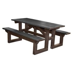 Outdoor Polly Products Tuff Step Thru Recycled Plastic Picnic Table Green Frame Black Top - PTST6-GREENFRAME-BLACKTOP