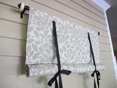 Swedish Roll Up Shade 36 Inch Long Stage Coach Blind Black and White Leaf Pattern