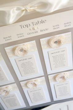 Vintage Shabby Chic Lace & Pearl framed A2 Wedding Table Seating Plan