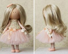 Art doll handmade blonde yellow pink color от AnnKirillartPlace