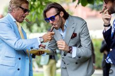 Italian gentlemen Lino Ieluzzi & Riccardo Maria Angelo Viganò wearing tailored suits and sunglasses on a street style photo taken during Pit. Work Fashion, Fashion Photo, Mens Fashion, Man Smoking, Double Breasted Jacket, Tailored Suits, Well Dressed Men, International Fashion, S Man