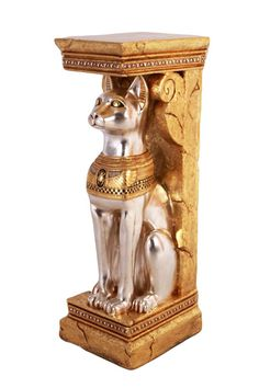 Egyptian Cat of Goddess Bastet Pedestal Statue