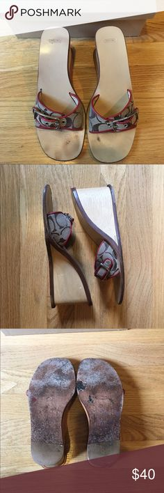 Coach wedges Honey large c design. Previously worn with wear as pictures. Great summer heel! Open to reasonable offers! Coach Shoes Wedges