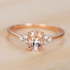 Morganite Engagement Ring Rose Gold Vintage Antique Oval Cut